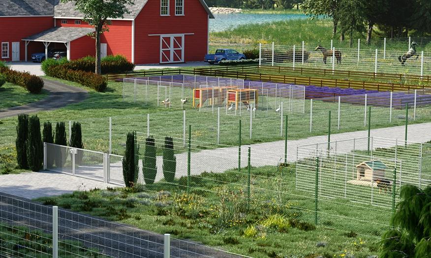 villa, trädgård och hundgårdar